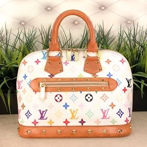 Authentic Louis Vuitton Alma White Multicolored